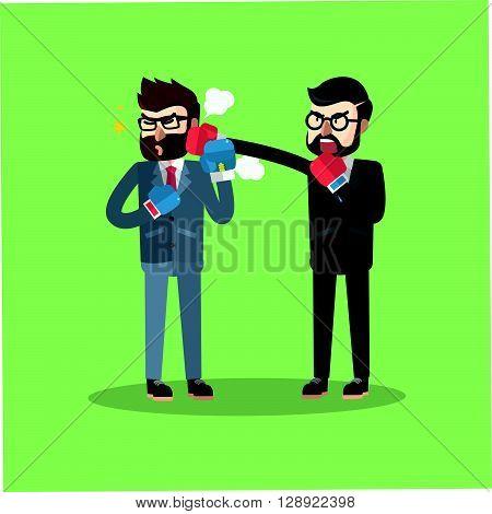 boss hitting Business man .eps10 editable vector illustration design