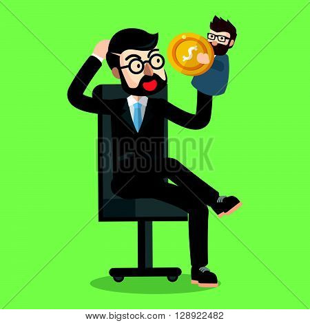 Business man playing with puppet .eps10 editable vector illustration design