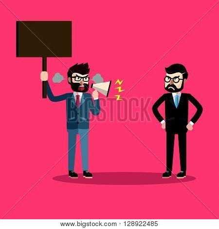 Business man protesting to boss .eps10 editable vector illustration design