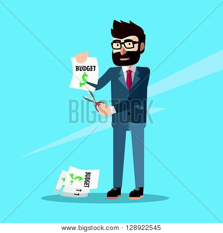 business man budget cut .eps10 editable vector illustration design