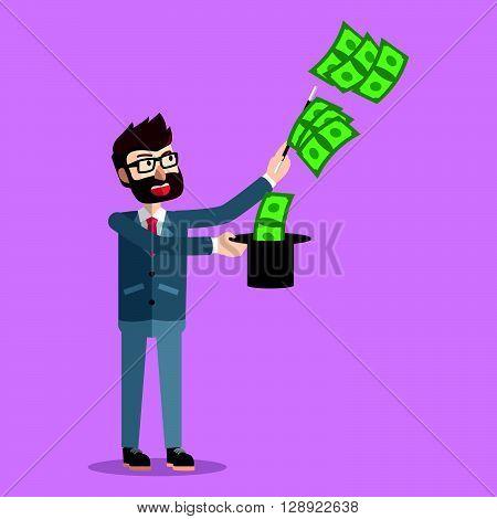 Business doing magic with money hat .eps10 editable vector illustration design