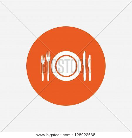 Plate dish with forks and knifes. Eat sign icon. Cutlery etiquette rules symbol. Orange circle button with icon. Vector