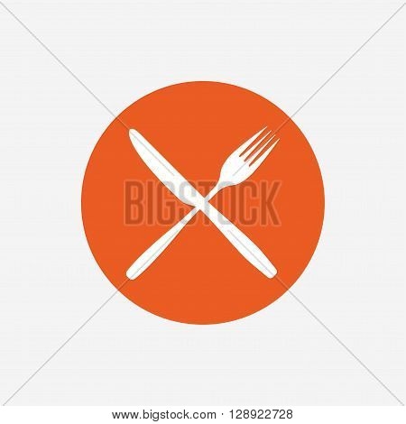 Eat sign icon. Cutlery symbol. Fork and knife crosswise. Orange circle button with icon. Vector