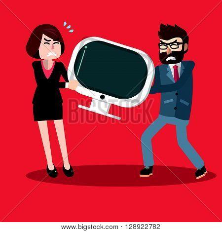 Scramble business woman and man .eps10 editable vector illustration design