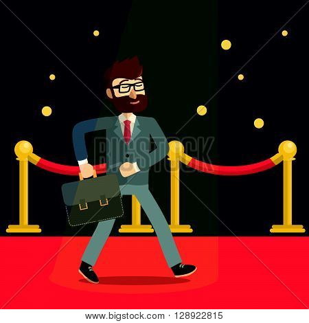 Businessman red carpet .eps10 editable vector illustration design