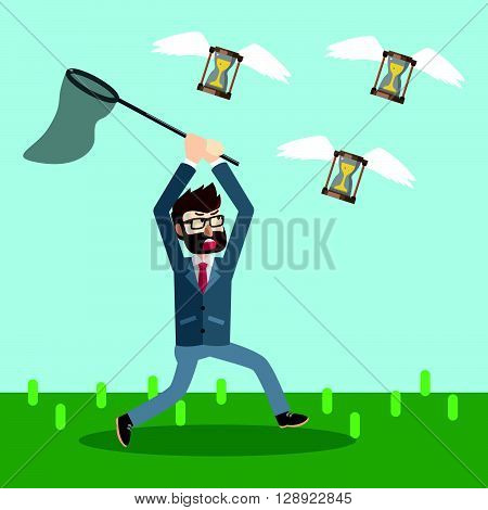 Businesss man catching flying hour glass .eps10 editable vector illustration design