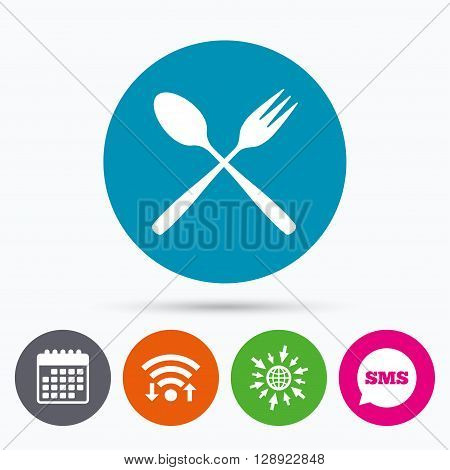 Wifi, Sms and calendar icons. Eat sign icon. Cutlery symbol. Dessert fork and teaspoon crosswise. Go to web globe.