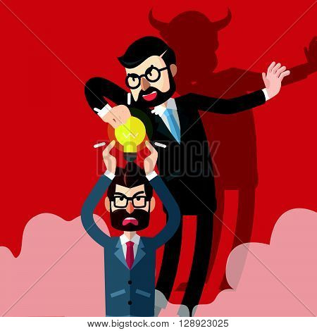 Business man idea stolen .eps10 editable vector illustration design