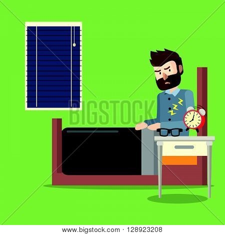 man walking up sleep .eps10 editable vector illustration design