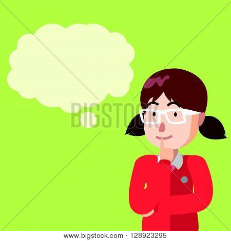 Girl thinking with balloon text .eps10 editable vector illustration design