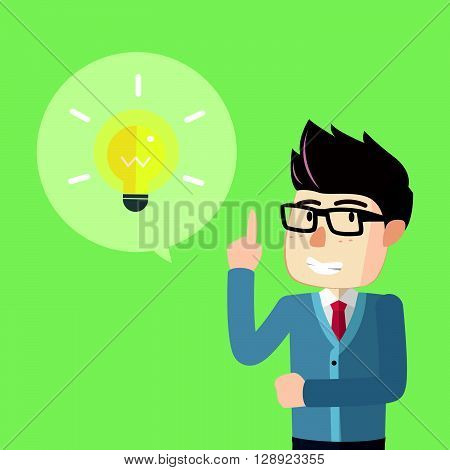 Nerd boy get idea .eps10 editable vector illustration design