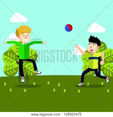 Boy playing volley ball .eps10 editable vector illustration design