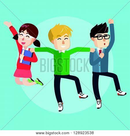 Jumping teenager tog .eps10 editable vector illustration design