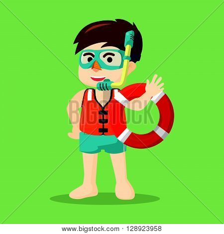 Boy with snorkel .eps10 editable vector illustration design