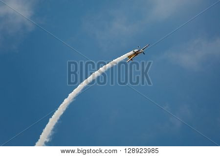 BUDAPEST, HUNGARY - MAY 1: Aerobatics as part of the May 1 celebration of 2014