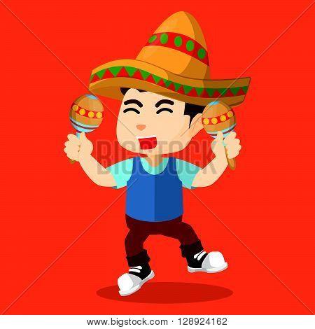 Boy playing maracas .eps10 editable vector illustration design