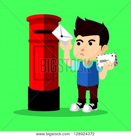 Boy sending letter .eps10 editable vector illustration design