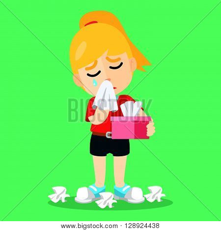 washing face Crying with tissue .eps10 editable vector illustration design