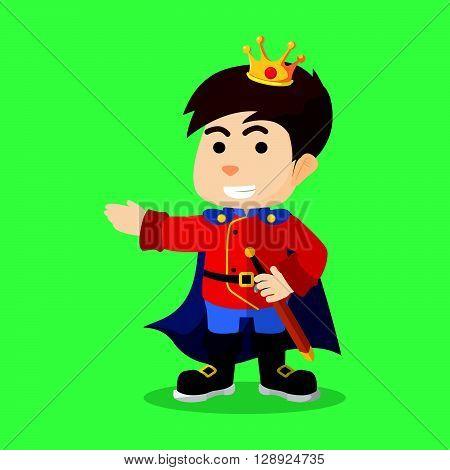 Boy using prince costume .eps10 editable vector illustration design