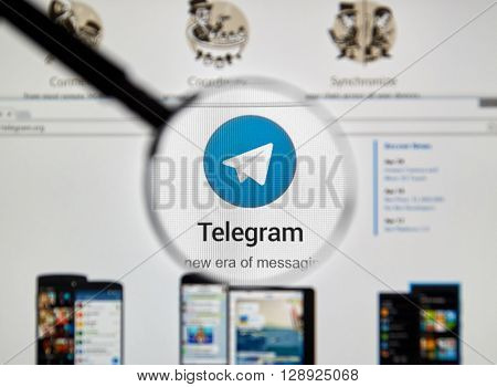 MONTREAL CANADA - MAY 8 2016 : Telegram messnger web site under magnifying glass. Telegram is a cloud-based instant messaging service.