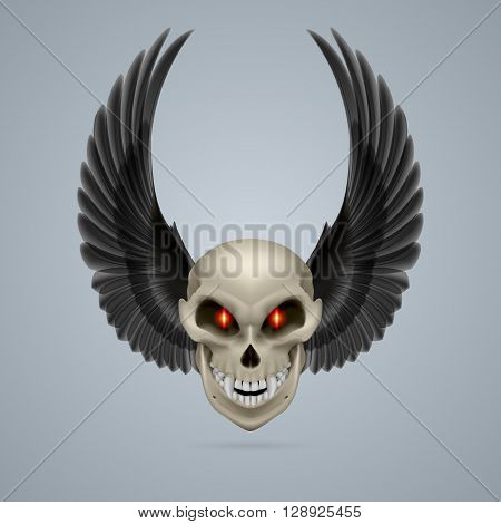 Evil looking mutant skull with raised black wings