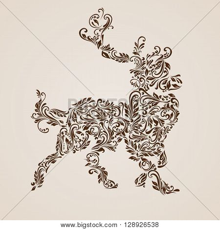 Floral pattern of vines in the shape of a deer on a beige background