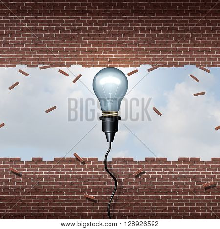 Power of inspiration metaphor and business ideas strength concept as a lightbulb lifting a brick wall open as a symbol of powerful thinking with creative motivation with 3D illustration elements.