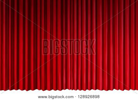 Curtains object as red velvet drapes representing theatrical entertainment stage isolated on a white background as a 3D illustration.