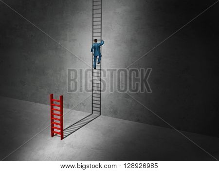 Business success imagination aspirtations concept as a businessman climbing the long upward cast shadow of a small ladder as a surreal symbol for imaginative leadership with 3D illustration elements.