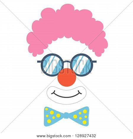 Clown props face set. Clown mask. Party  funnyman birthday photo booth props. Wig, nose, funny glasses, bow tie, smile. Vector illustration clown photo booth props. Clown props.
