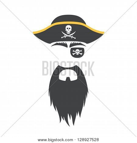 Pirate props face set. Pirate mask. Party corsair birthday photo booth props. Cocked hat, beard, eyecup, eyebrows. Vector illustration pirate photo booth props. Pirate props.