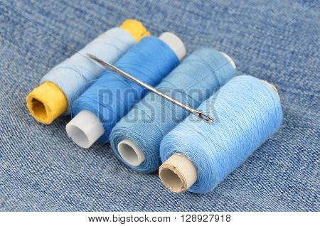 Threads On Jeans Backround