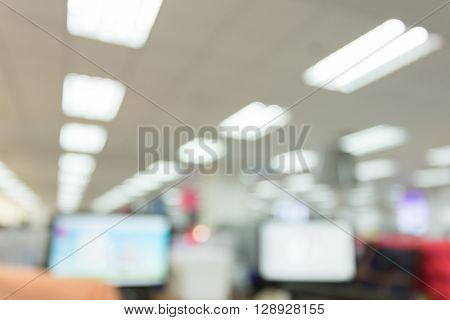 abstract blur background table work in office with computer pc