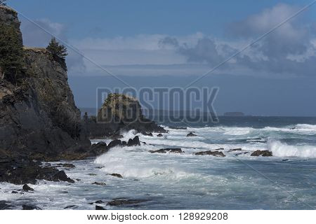 The Pacific Ocean Crashing Against the Coast of Alaska