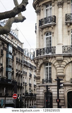 houses on french streets of Paris. citylife concept. regular view