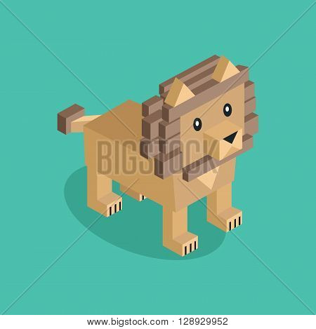 Isometric lion is brown. 3D lion isolated. Vector illustration