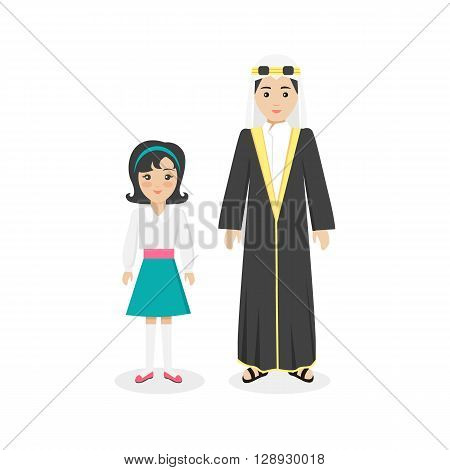 Arabian traditional clothes people. Arab traditional family muslim, arabic woman clothing, east arabian dress, ethnicity islamic face, person human mother with daughter isolated white. Vector illustration