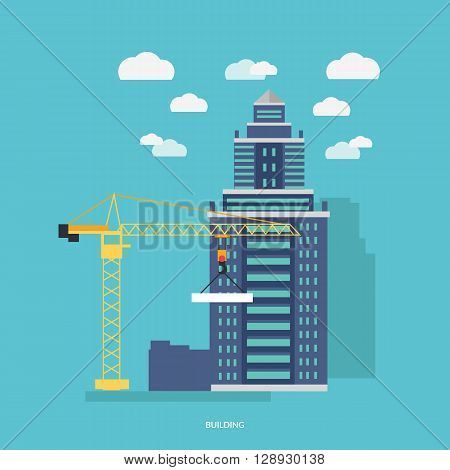 Building process. Success engineer. Building process flow, construction process, engineering technology, construction building, business building, work process vector illustration