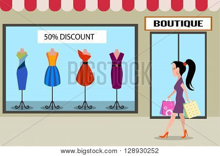 On the image is presented girl accomplishing purchases flat style