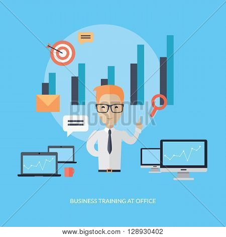 Business training at office banner. Banner successful young man with glasses mentor consultant, coaching and shows business charts and graphs. Success growth data information. Vector illustration