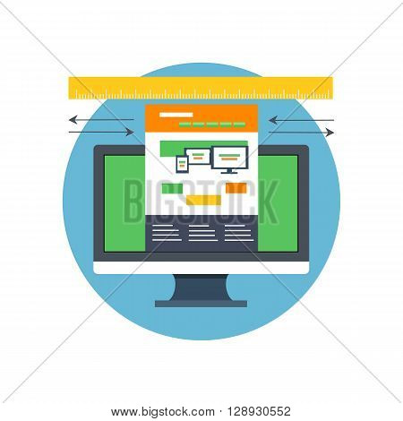 Responsive design icon flat isolated. Sliding caliper take website page dimensions on the screen digital display. Icon badge or emblem flat in a circle isolated. Vector illustration