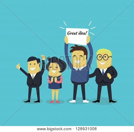 People with a banner great idea. Successful business team man and woman smiling and holding a white sheet of paper with the inscription great idea isolated on background. Vector illustration