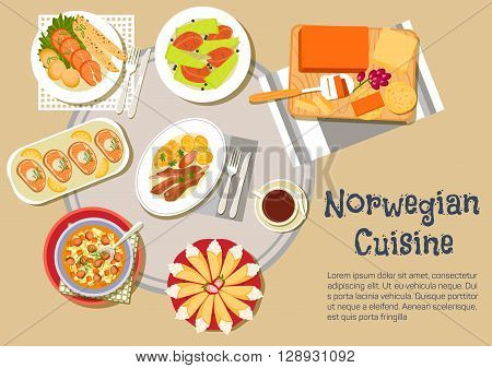Norwegian Christmas dinner flat icon of cheese plate with brown brunost and jarlsberg cheese, open sandwiches, topped with salmon, lamb ribs with swede mash and potatoes, salmon steaks, served with pancakes, potato dumplings, beef stew and cakes krumkake