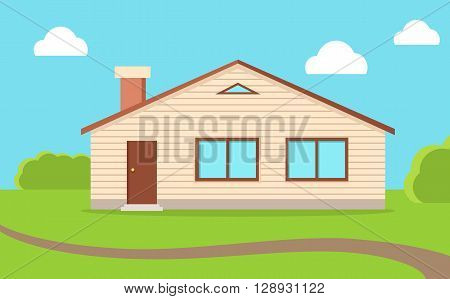 House in nature, sky with clouds. Wooden rural house house with windows, doors and the chimney flue on the green lawn. Day sky with clouds home in nature flat style design. Vector illustration