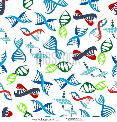 Colorful seamless human DNA helices pattern over white background with randomly scattered abstract modern molecule models. May be use as scientific research, health care or genetic science theme design