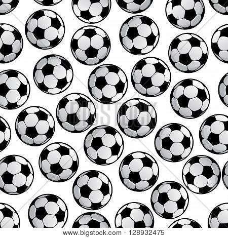 Sporting seamless pattern of football or soccer balls. For sport game or competition theme and scrapbook page backdrop design with traditional tracery of white hexagons and black pentagons