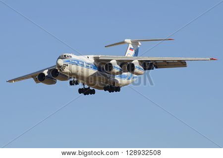 SAINT PETERSBURG, RUSSIA - MARCH 20, 2016: The IL-76-TD-90 (RA-76952) of the company