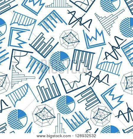 Blue business charts and financial graphs seamless pattern over white background with pie and radar charts, bar and line graphs, histograms and diagrams. Use as presentation or infographics backdrop design