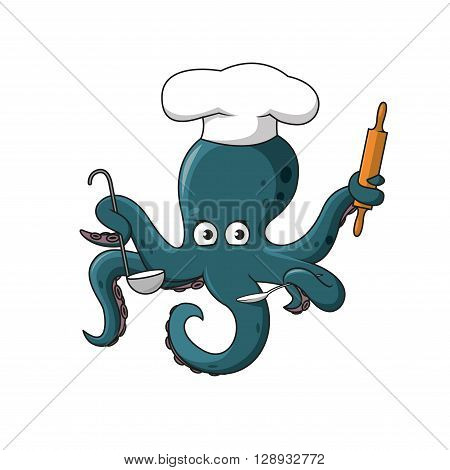 Cute cartoon blue octopus chef in white cook hat character with spoon, ladle and wooden rolling pin in swirling tentacles. Great for children book and seafood menu restaurant design
