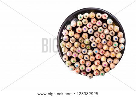 Set of color pencils in a black office bin on white background